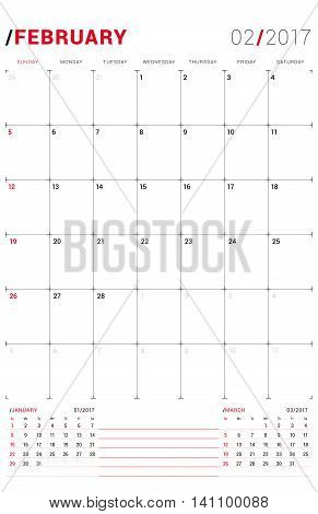 February 2017. Vector Print Template. Monthly Calendar Planner For 2017 Year. Week Starts Sunday. 3