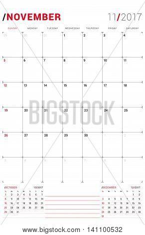 November 2017. Vector Print Template. Monthly Calendar Planner For 2017 Year. Week Starts Sunday. 3