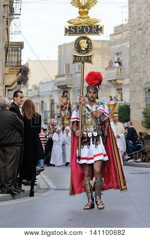 MOSTA, MALTA - APR 22 : Roman centurion during in the Good Friday procession in the village of Mosta in Malta April 22, 2011
