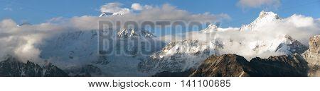 Evening panoramic view of mounts Cho Oyu Gyachung Kang and Hungchhi from Gokyo Ri Sagarmatha national park Khumbu valley Nepal