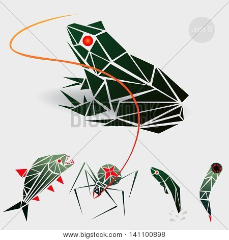 vector graphics, illustration for a gaming application, marsh monstrych enemies: frog, a spider, a tadpole, a leech. polygon