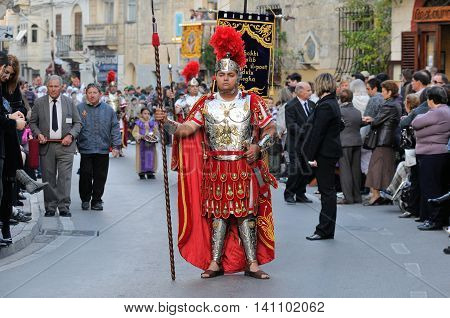 MOSTA, MALTA - APR 22 - Roman centurion during in the Good Friday procession in the village of Mosta in Malta April 22, 2011