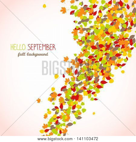 Hello september postcard. Autumn leaves. Text frame. Warm fall background with copy space. Leaf fall. Colorful foliage poster in warm colors.