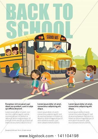 Back To School Safety Flayer depicting School bus stop. Passing a school bus. Child boarding school bus. Kids crossing the road. Vector illustration.