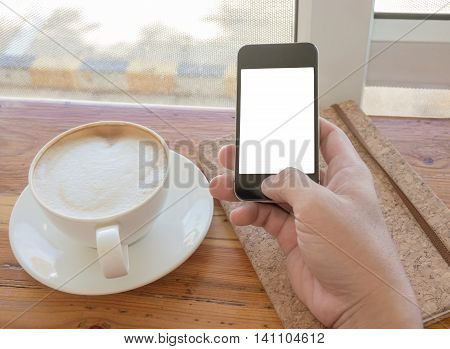 Close Up Of Hands Holding Cell Telephone With Blank Copy Space Screen For Your Advertising Text Mess