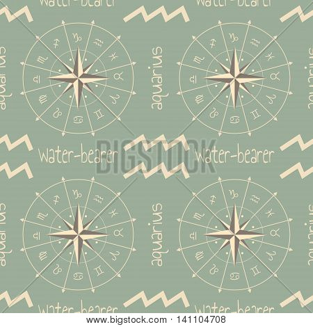 Astrology sign Water bearer. Seamless background. Vector illustration