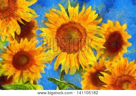 Sunflowers.Van Gogh style imitation. Digital imitation of post impressionism oil painting.