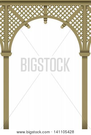Openwork arch Wooden pergolas or verandas of the bar of the classic Victorian style vector graphics
