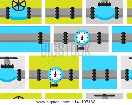 Gas control valve and pipes transportation. Industrial seamless pattern.