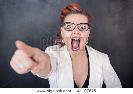 Angry Screaming Woman Pointing Out