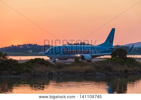 Corfu Airport, Greece - July 11, 2011: Boeing 767 Of Thomson At The Airport Corfu