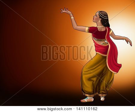 Bollywood dancer in traditional dress on a golden orange background.