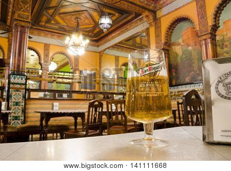 BILBAO, BASQUE COUNTRY. July 26th 2016. Many of the increasing numbers of tourists visiting Bilbao will be finishing the day with a glass of San Miguel at the Cafe Iruna. The famous cafe is exquisitely decorated in the moorish style.