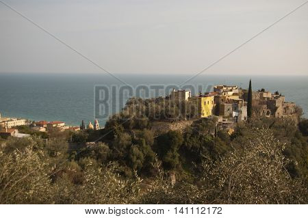 This photo represents a view from above of the ancient town of Varigotti Italian Riviera Italy