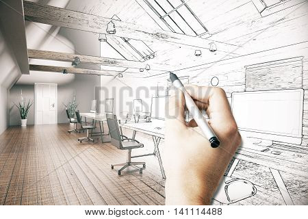 Male hand drawing unfinished project of country style coworking office interior. 3D Rendering