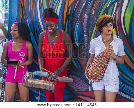 HAVANA CUBA - JULY 18 : Rumba musicians in Havana Cuba on July 18 2016. Rumba is a secular genre of Cuban music involving dance percussion and song. It originated in the northern regions of Cuba
