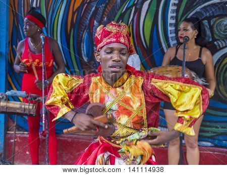HAVANA CUBA - JULY 18 : Rumba dancer in Havana Cuba on July 18 2016. Rumba is a secular genre of Cuban music involving dance percussion and song. It originated in the northern regions of Cuba