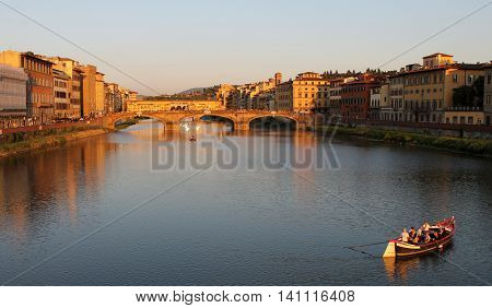 view of Arno river in Florence Italy