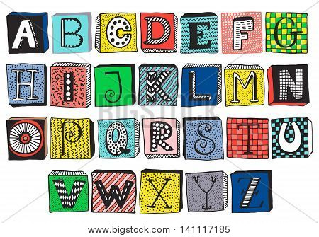 Hand drawn fancy alphabet on blocks, funny doodle letters. Vector set of colorful letters, frames with different textures