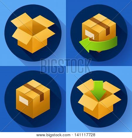 Delivery and free return of gifts or parcels. Shipping Concept icon for internet store. Flat design style