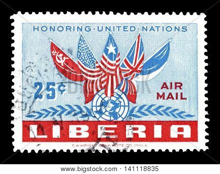 LIBERIA - CIRCA 1952 : Cancelled postage stamp printed by Liberia, that shows flags of five nations.