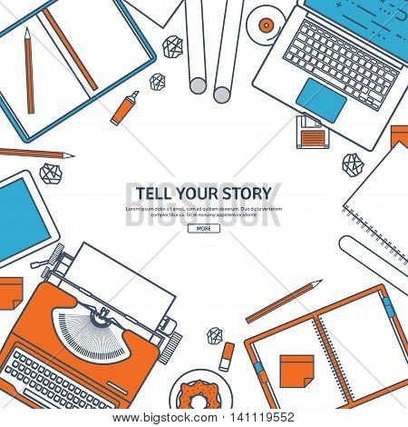 Line art.Vector illustration. Flat typewriter.Laptop. Tell your story. Author. Blogging.