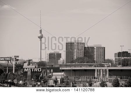 BERLIN, GERMANY - MAY 09: The city scape in Berlin around the Berlin TV Tower and the wholesale company Metro on May 09, 2016 in Berlin.