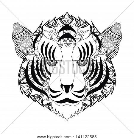flat design tribal tiger head icon vector illustration