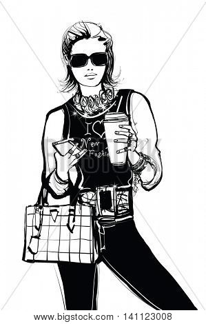 Portrait of a young fashion model with handphone - vector illustration