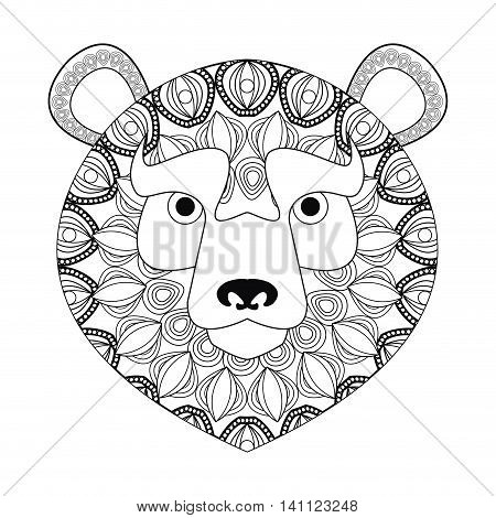 flat design tribal lion icon vector illustration