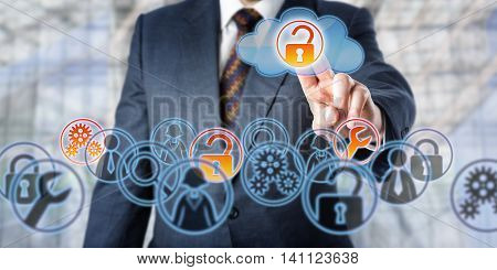 Man unlocking access to managed services by touch. Information technology concept involving enterprise IT strategy remote monitoring cloud backup storage mobile data access and network security.