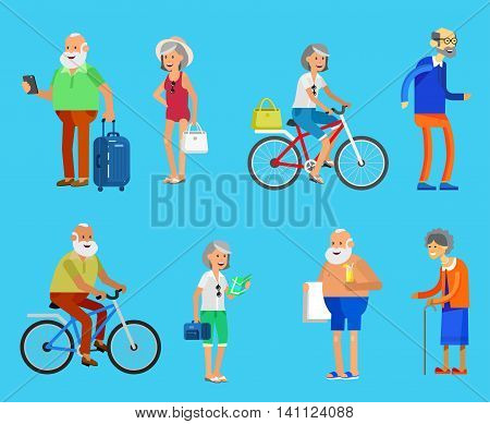Character travelers. Old age retired tourists. Elderly couple senior having summer vacation with map and gadget, in swimsuits go on beach, riding on a bicycle. Healt icons
