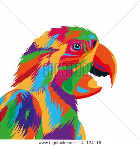 flat design colorful parrot drawing icon vector illustration