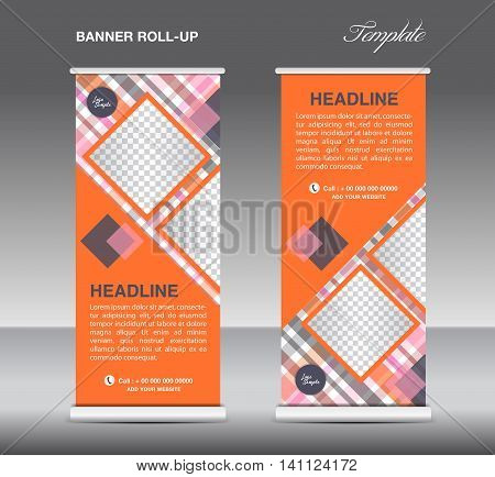 Orange Roll up banner template vector roll up stand display banner design poster flyer advertisement