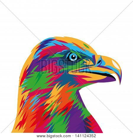 flat design colorful eagle drawing icon vector illustration