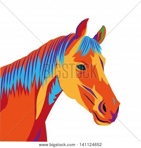 flat design colorful horse drawing icon vector illustration