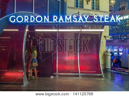LAS VEGAS - JUNE 22 : The Gordon Ramsay restaurant in Paris hotel in Las Vegas on June 22 2016. Gordon Ramsay is British chef and restaurateur his restaurants have been awarded 16 Michelin stars