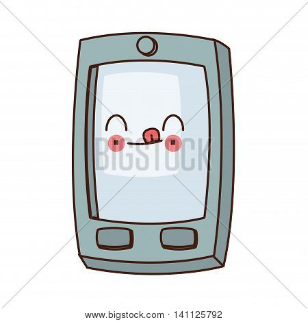 flat design kawaii cellphone with buttons icon vector illustration