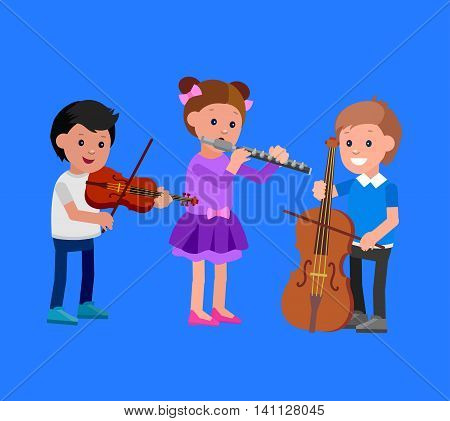 Cute vector character. Happy kid team playing on contrabass, on flute, playing on violin. Education and child development. Banner for kindergarten, children club or school of Arts, music school