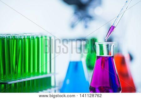 Pipetting coloured liquid into Beaker, Chemical, Science, Laboratory, Test Tube, Laboratory Equipment