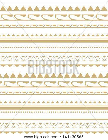 Seamless pattern in the style of the tribe. Gold pattern fabric cover background.