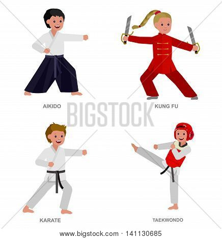 Cute vector character child. Illustration for martial art taekwondo, karate, aikido, kung fu. Kid wearing kimono and training