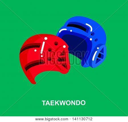 Illustration for martial art poster. Vector equipment for Taekwondo, helmet