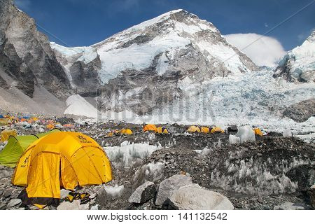 EVEREST BASE CAMP NEPAL 27th APRIL 2016 - View from Mount Everest base camp tents and prayer flags sagarmatha national park trek to Everest base camp - Nepal