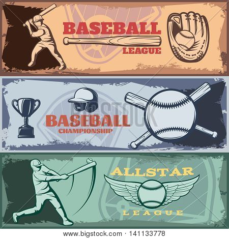 Baseball tournaments horizontal banners set with batters sports outfit trophy on grunge style background isolated vector illustration