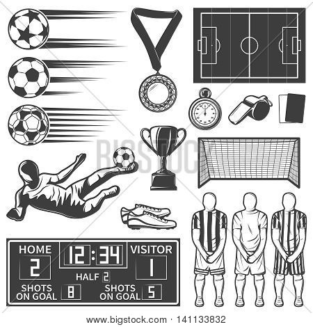 Soccer monochrome elements set with team during penalty sports equipment football boots referees objects isolated vector illustration
