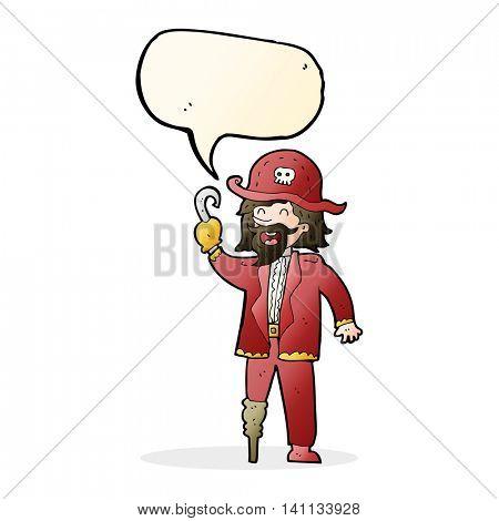 cartoon pirate captain with speech bubble