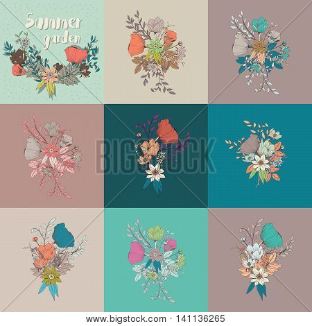 Vector flower bouquet collection botanical and floral decoration hand drawn vector illustration