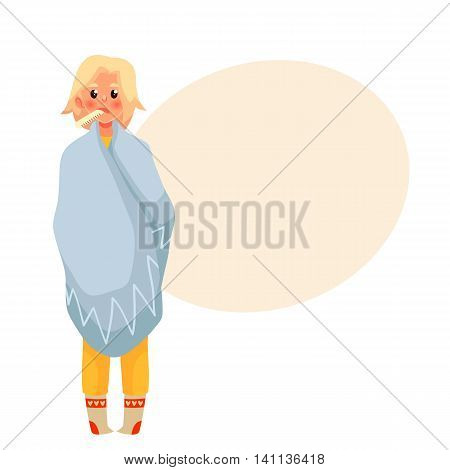 Blond young woman having a cold, cartoon style vector illustration isolated on white background. Beautiful girl wrapped in blanket with thermometer in her mouth, winter flu season