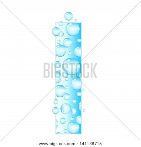 Letters soap bubbles water droplets. I Letter from the water bubbles. Aqua letter. Vector illustration.